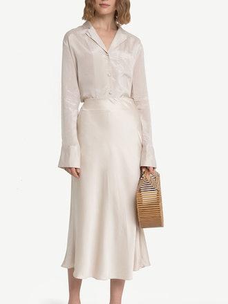 Rene Beige Satin Long Skirt