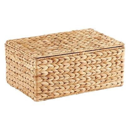 Small Water Hyacinth Storage Box with Hinged Lid