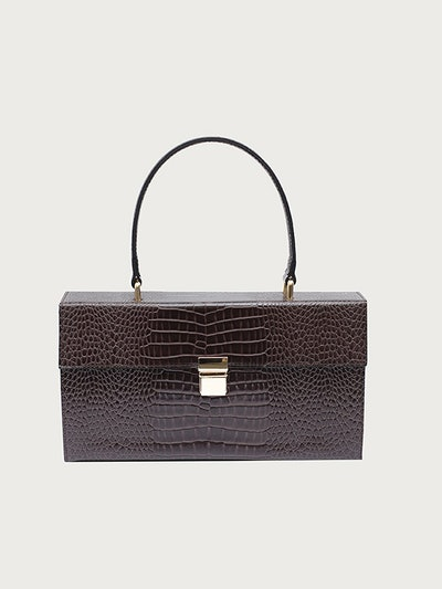 Brown Croc Rectangular Clutch Bag