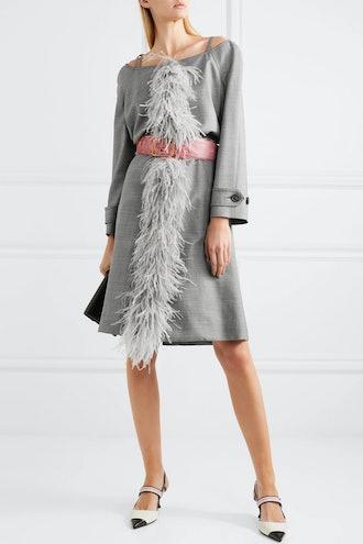 Cold-Shoulder Feather-Trimmed Wool-Blend Coat