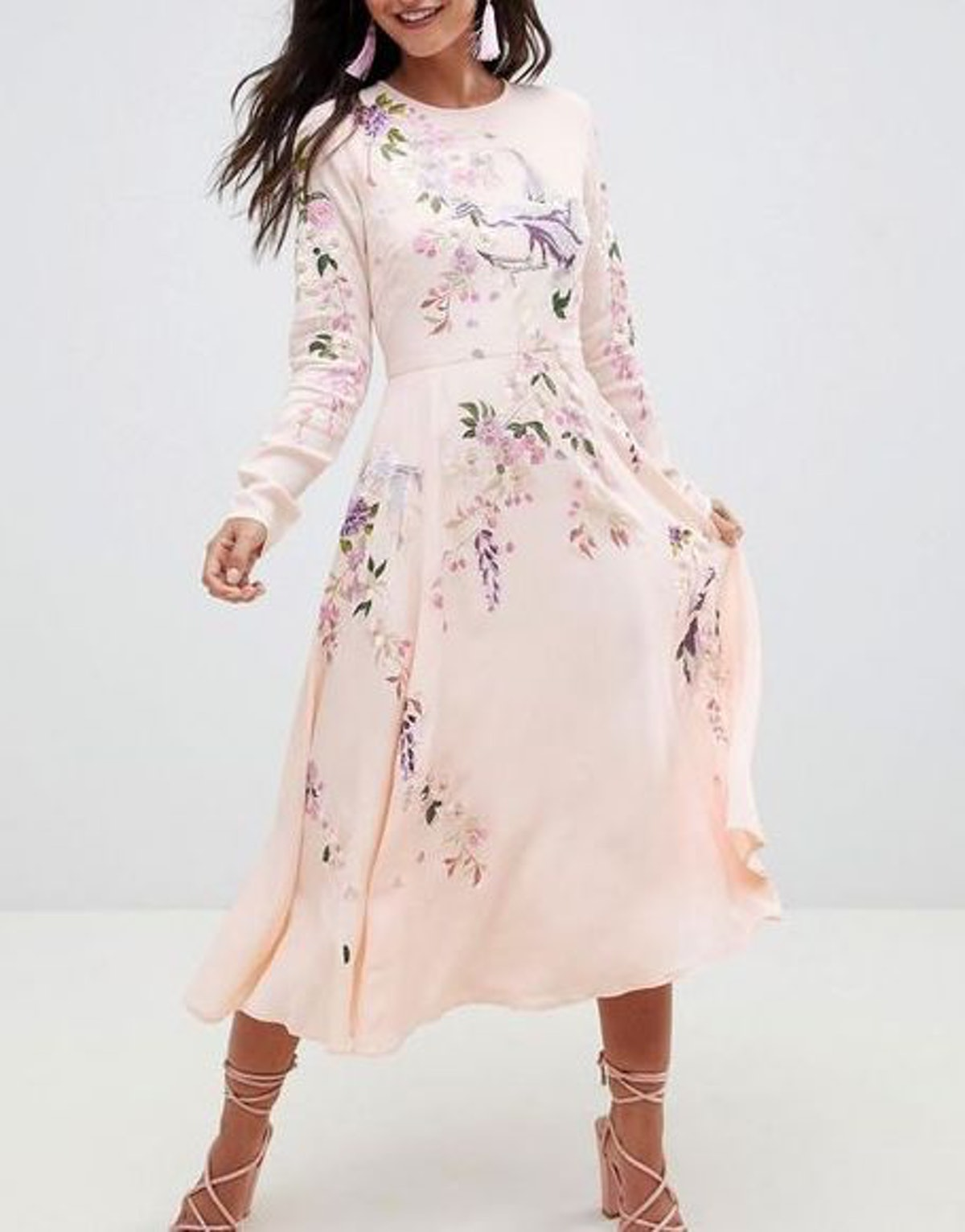 Midi Dress With Pretty Floral And Bird Embroidery