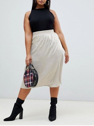 Crushed Satin Midi Skirt