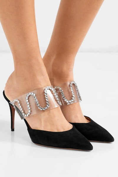 Aquazzura + Sabine Getty So Sabine crystal-embellished suede and PVC mules