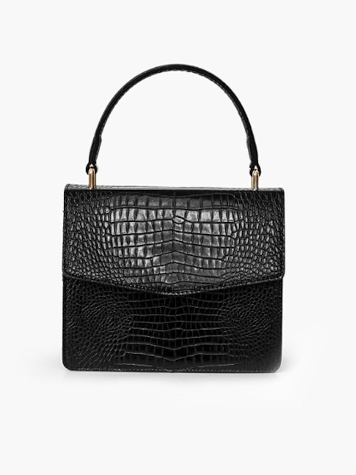 Black Croc Crossbody Bag