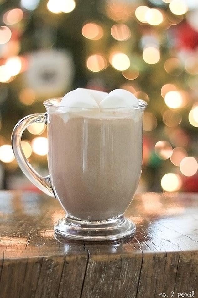 glass mug of hot chocolate