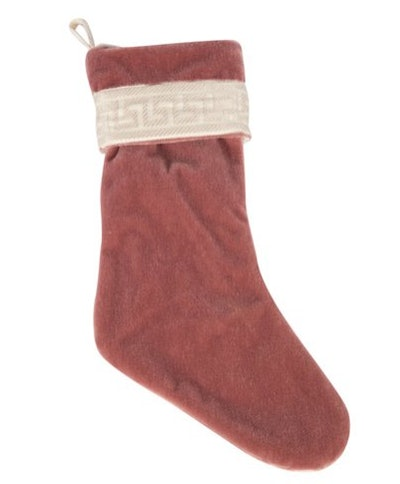 Ivy And Vine Dusty Rose Mohair & Greek Key Stocking