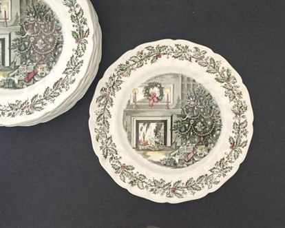 Rosa Meyer Collection Vintage Dinner Plate Merry Christmas Johnson Bros Vintage Holiday Decor