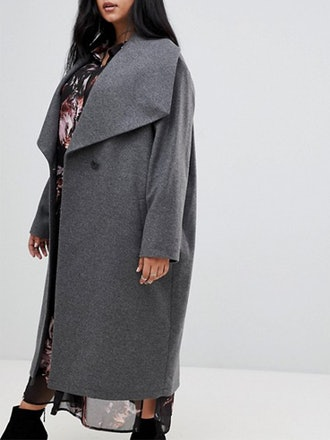 Double Breasted Coat With Drapey Collar Detail