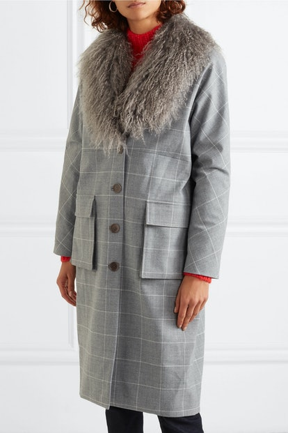 Shearling-Trimmed Checked Woven Coat