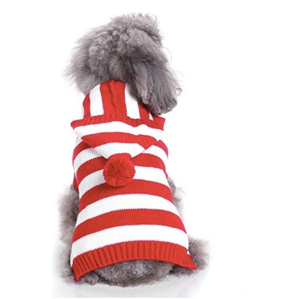 Red and White Striped Dog Sweater