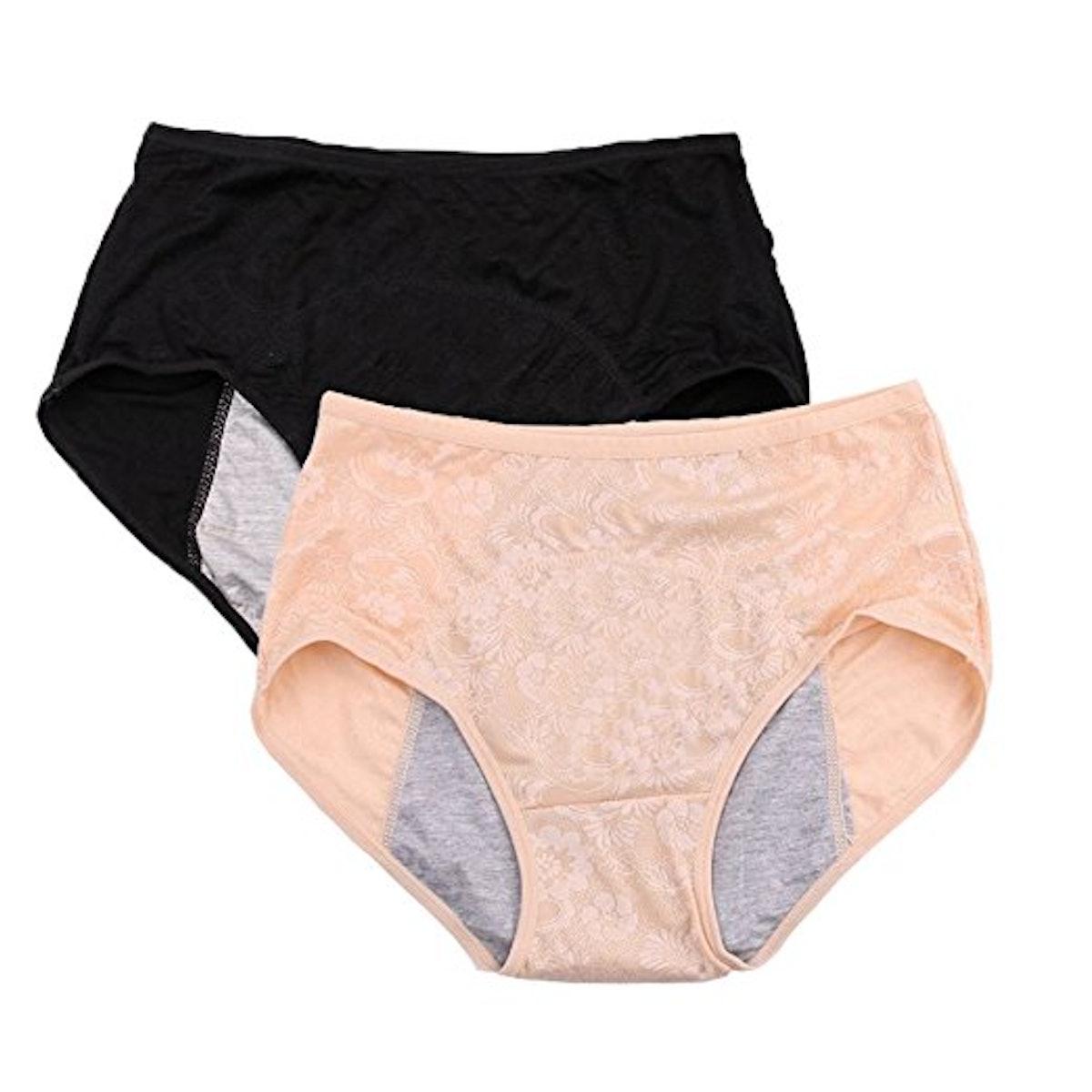 YOYI FASHION Menstrual Briefs (Sizes XS-4XL) (2 Pack),
