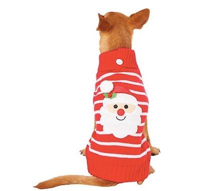 Red Striped Santa Dog Sweater