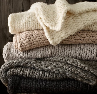"Chunky Hand-knit Throw - 60"" X 80"" - Ivory"