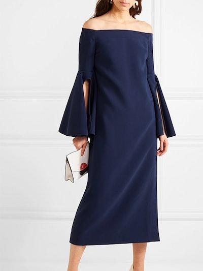 Gertie Off-The-Shoulder Crepe Midi Dress
