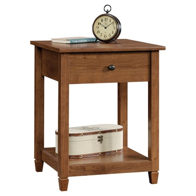 Sauder Edge Water Side Table with Drawer and Storage Shelf