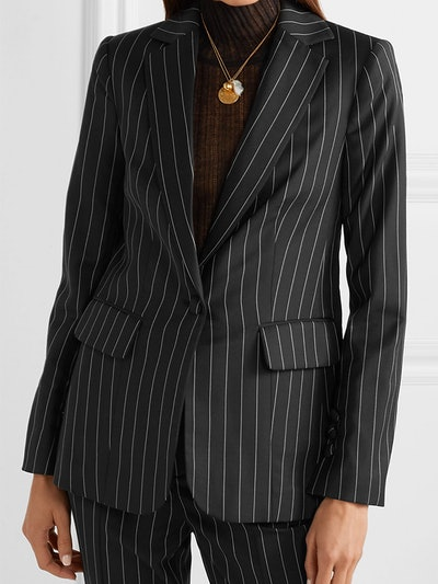Pinstriped Wool-Blend Blazer