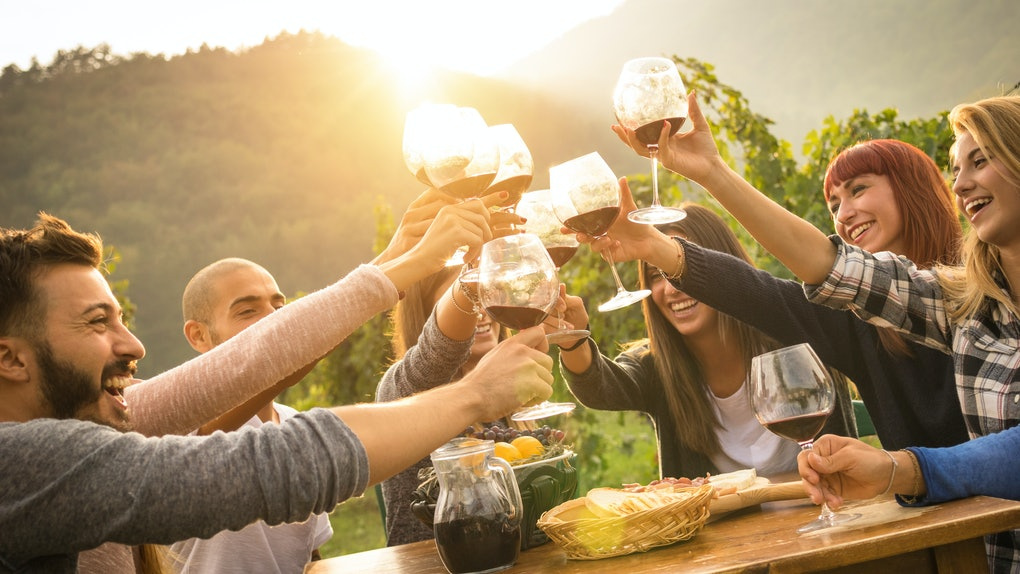 """A group of friends gathered around a wooden table clink their wine glasses together to """"cheers."""""""