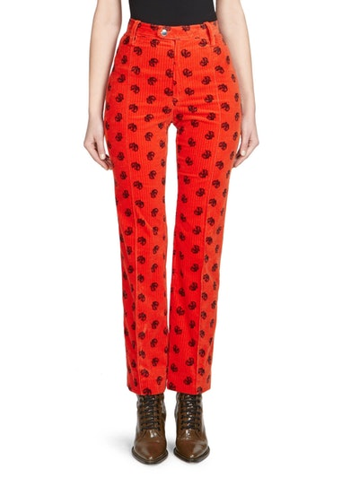 Embroidered Corduroy Trousers