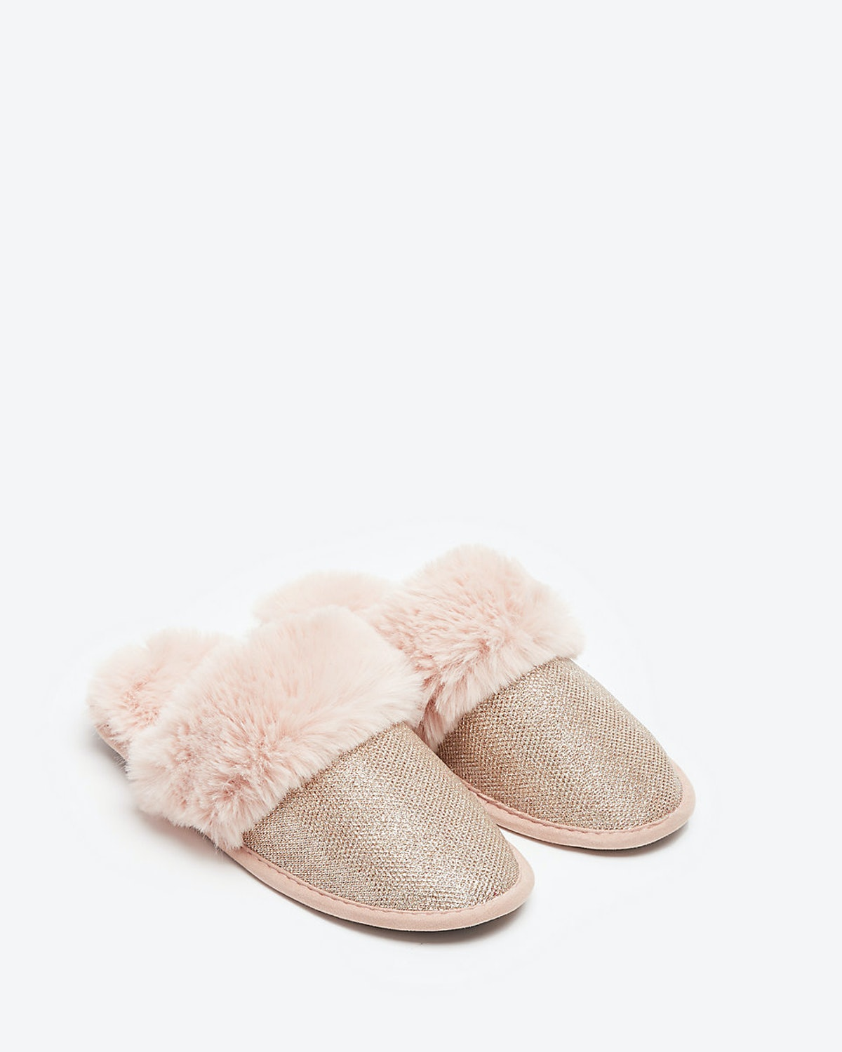 Sparkly Faux Fur Slippers