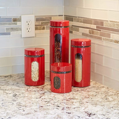 Anchor Hocking Palladian Glass And Stainless Steel Canister Set