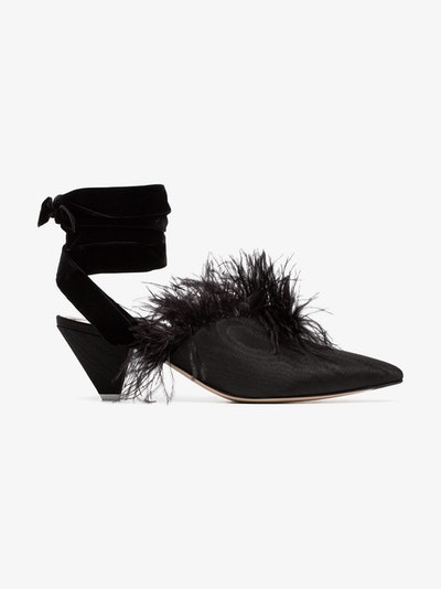 Feather Embellished Velvet & Satin Mules