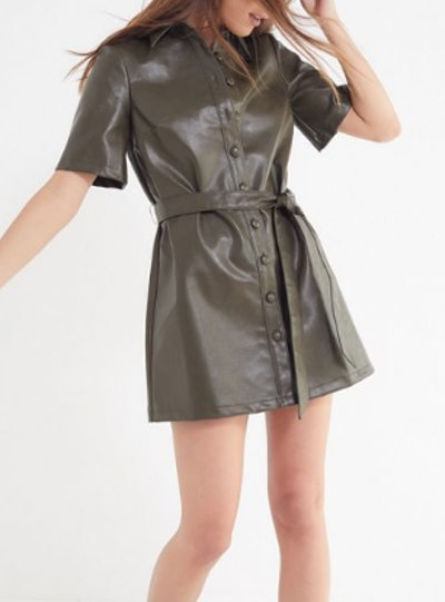 Faux Leather Button-Down Shirt Dress