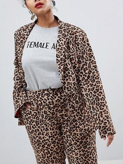 Boyfriend Fit Blazer In Leopard Print Two-Piece