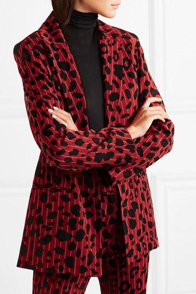 Leopard-Print Pinstriped Stretch-Twill Blazer