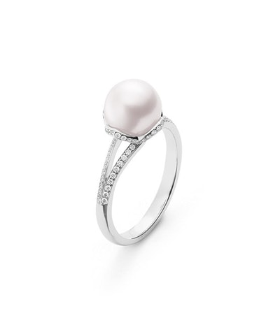 Embrace Akoya Cultured Pearl and Diamond Ring in White Gold