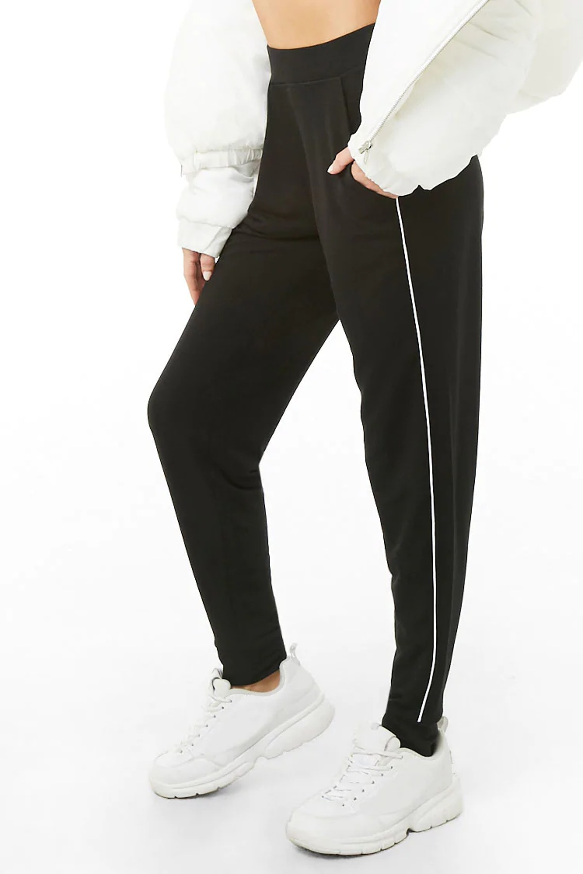 Forever 21 Active Piped-Trim Joggers