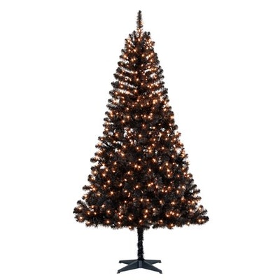 Holiday Time 6.5ft Pre-Lit Madison Pine Artificial Christmas Tree with 350 Clear Lights - Black