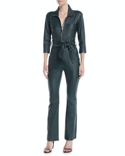 Emma Zip-Front Leather Straight-Leg Jumpsuit