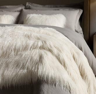 "Tibetan Faux Fur Oversized Bed Throw - 80"" X 96"""