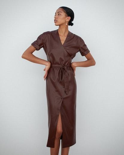 Leather Puff Sleeve Dress