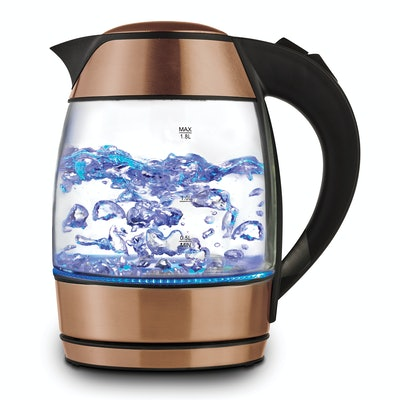 Brentwood 1.8L Cordless Glass Electric Kettle with Tea Infuser, Rose Gold