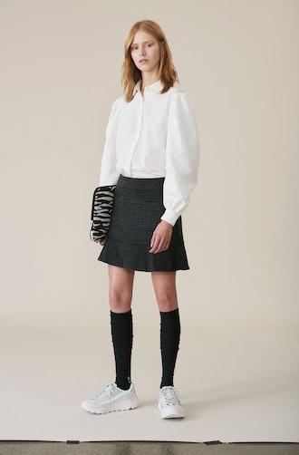 Check Wool Skirt
