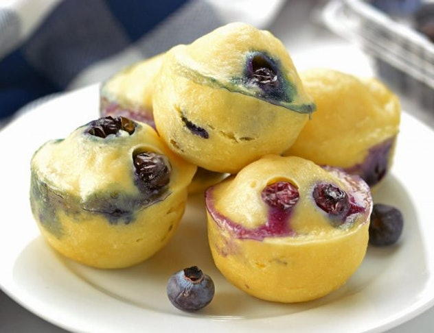 bite sized blueberry pancake cups