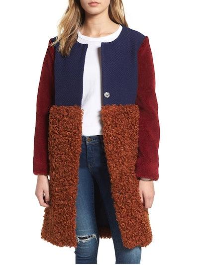 Colorblock Faux Shearling Coat