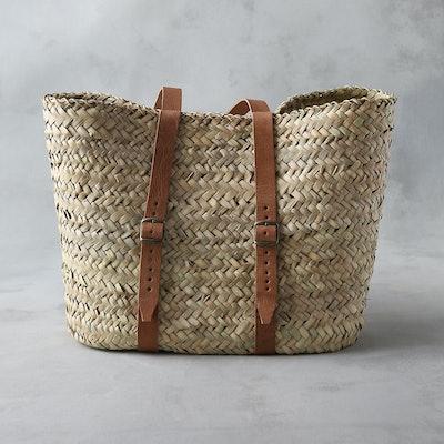 Leather Handle Market Backpack