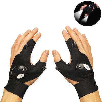 Coroler Fingerless LED Flashlight Gloves