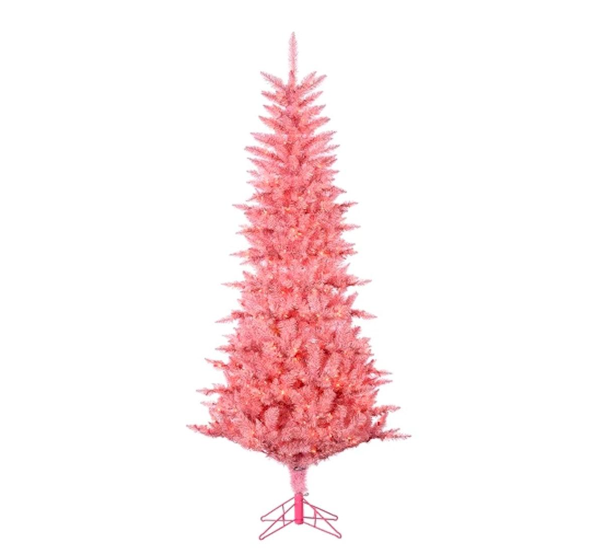 Pre-Lit Artificial Christmas Tree Pink Tuscany Tinsel Tree