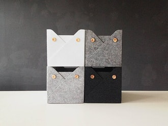 WoollyClouds Felt Storage Bin with Buttons (set of 4)