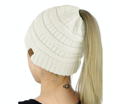 C.C Cable Knit Ponytail Beanie
