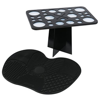 ESARORA Makeup Brush Cleaning Mat And Stand