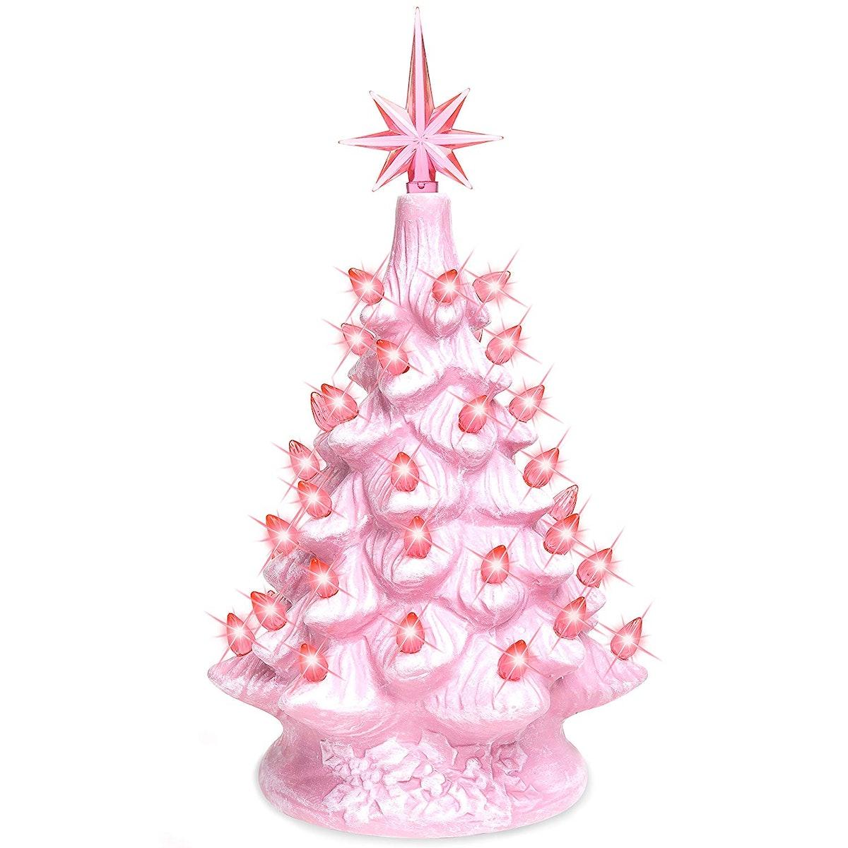 Pre-Lit Ceramic Tabletop Christmas Tree with Lights
