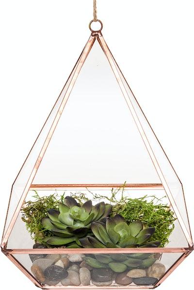Mindful Design Geometric Diamond Desktop Garden Planter Terrarium (Rose Gold