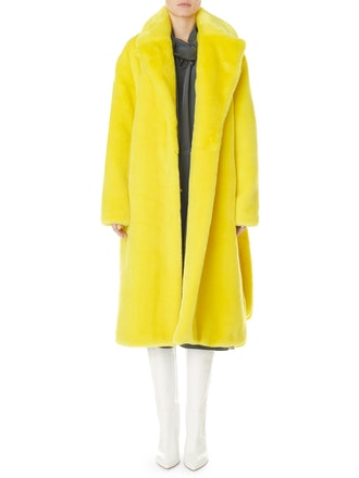 Tibi Oversized Faux-Fur Belted Trench Coat