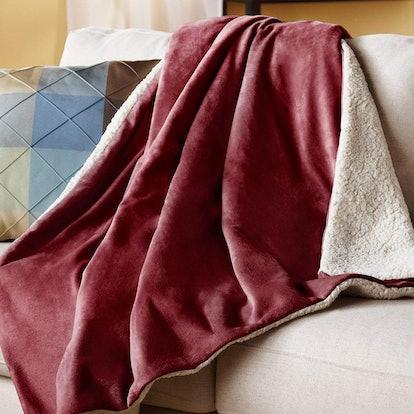 Sunbeam Reversible Sherpa/Mink Heated Throw Blanket