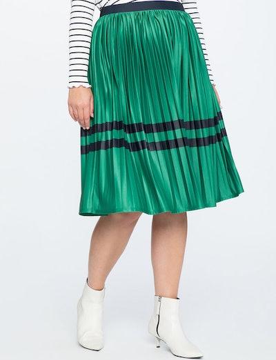 Sunburst Pleated Midi Skirt