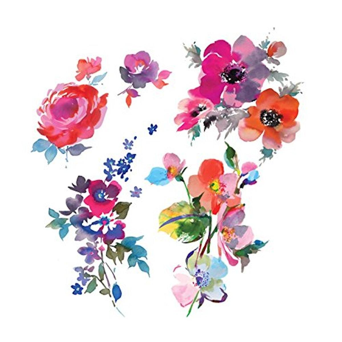 Tattly Temporary Tattoos Watercolor Florals Sheets (2 Sheets)